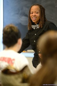 Torina Lewis in front of class.