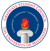 Graduate Student Council round red and blue logo with pillar