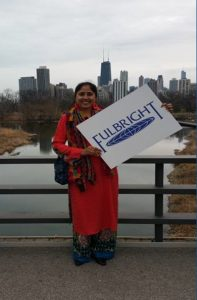 Abidah holidng a Fulbright Sign