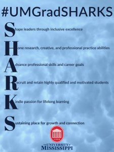 #UMGradSHARKS, Shape leaders through inclusive excellence, Hone research, creative, and professional practice abilities, Advance professional skills and career goals, Recruit and retain highly qualified and motivated students, Kindle passion for lifelong learning, Sustaining place for growth and connection. The University of Mississippi crest